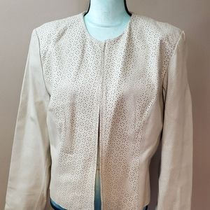 Vintage soft white leather perforated dress coat,